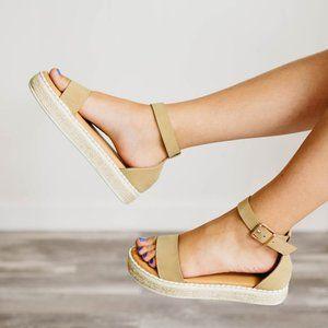 NEW Natural Ankle Strap Espadrille Platform Sandal